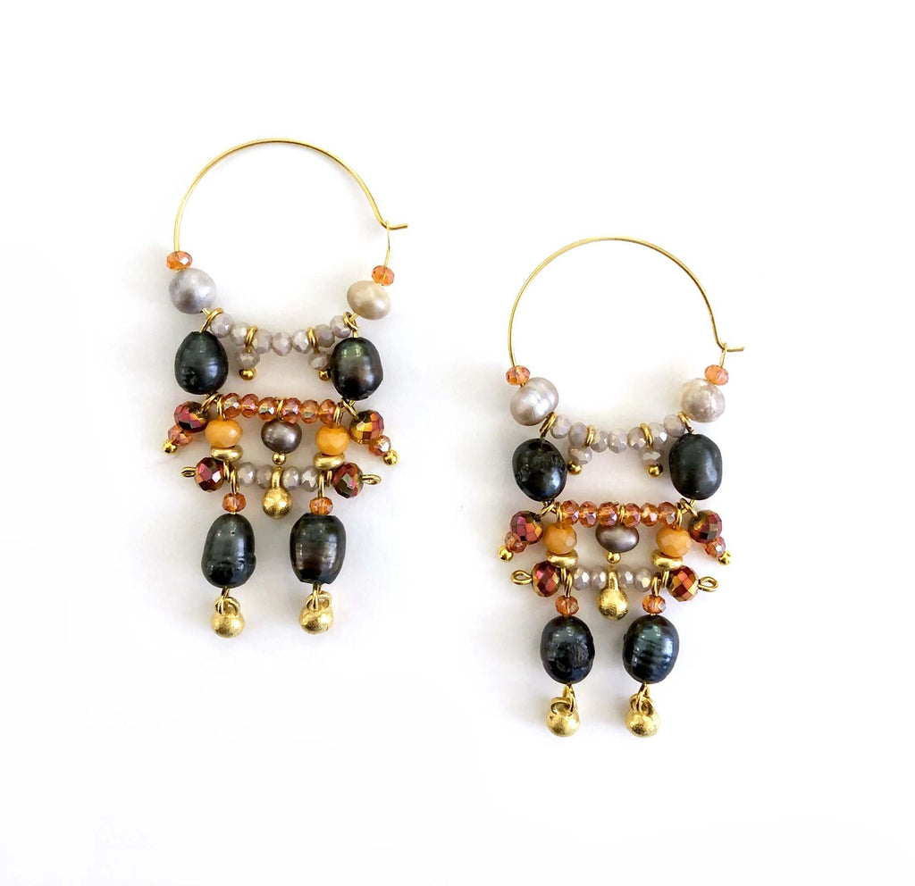 Florence Earrings grey/orange - MIMI SCHOLER