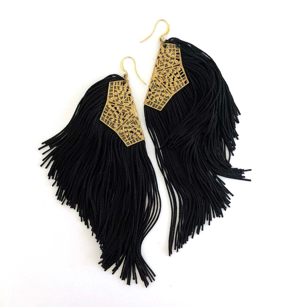 Fringe Earrings black - MIMI SCHOLER