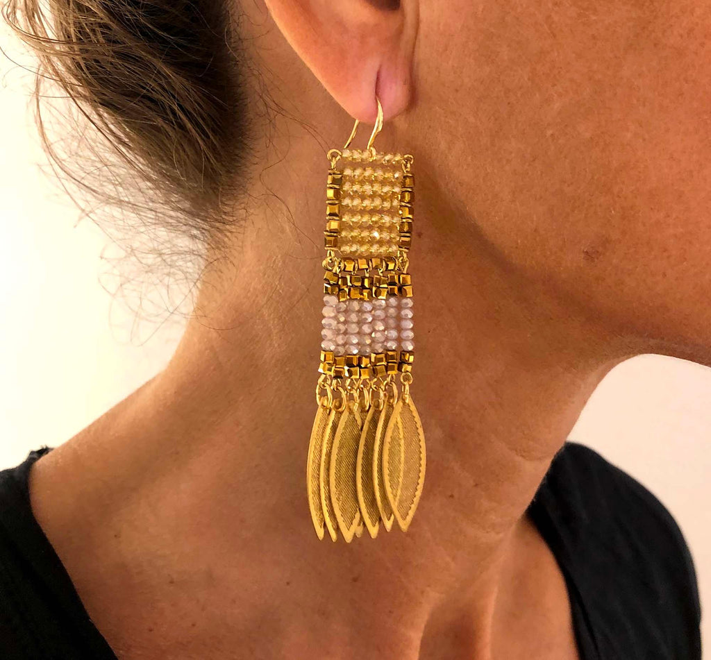 Odisea Earrings light yellow/mauve - MIMI SCHOLER