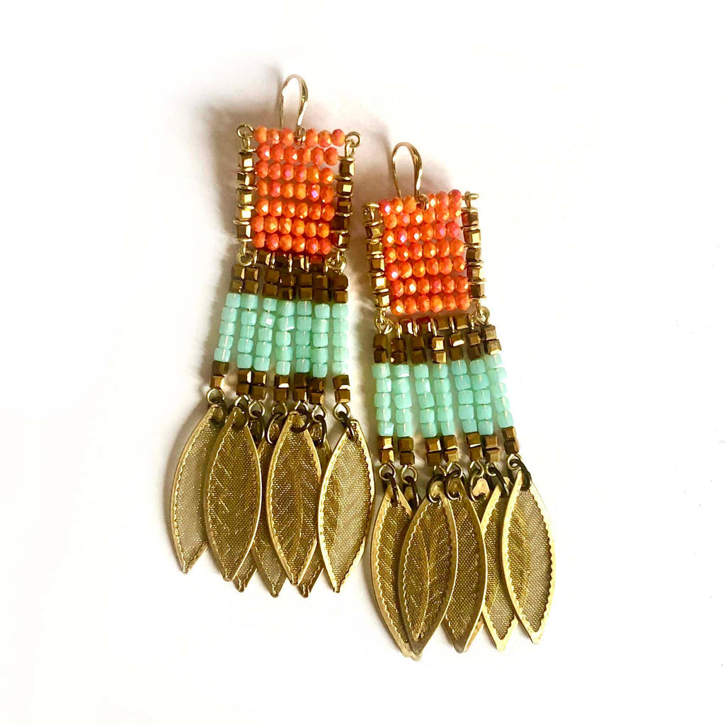 Odisea Earrings coral/lightgreen - MIMI SCHOLER