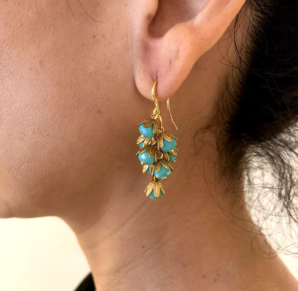 Small Mil Flores Earrings turquoise - MIMI SCHOLER