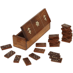 Handmade Wooden Domino Game with Nautical Storage Box - Complete Game Set