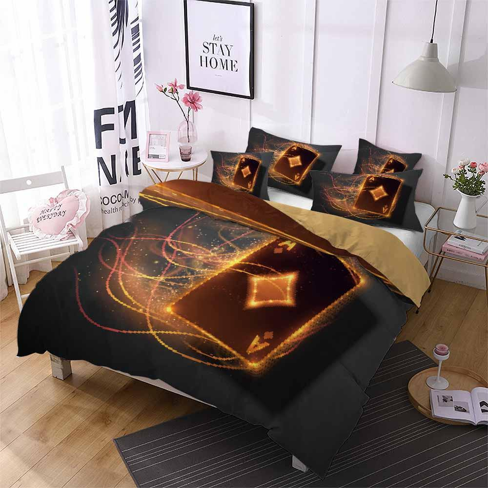 2020 Playing cards Poker ACE Print Bedding Set Black Duvet Cover Sets For child bedroom-Kitkae-Kitkae-Koalabedding (4578406432904)