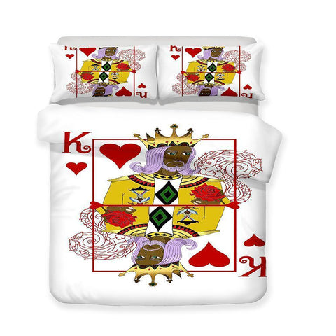 3 Pcs Bedding Set 3d Poker Playing Cards Heart K Art Print All Size Art Print Bed Set-Mr Koala