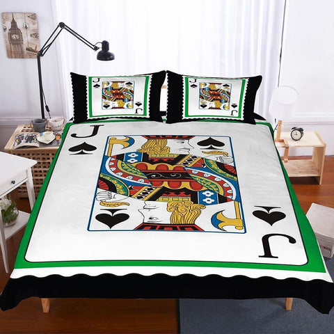 3 Pcs Bedding Set 3d Poker Playing Cards Jack Spade Club J Art Print All Size Art Print Bed Set-Mr Koala