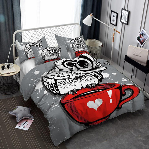 3 Pcs Kids Bedding Set 3d Night Owl Art Print All Size Duvet Cover Art Print Bed Set-Mr Koala