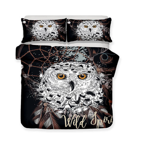 3 pcs set bedding set 3D printing night owl art print full size duvet cover art print bed cover-Mr Koala