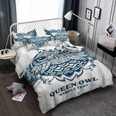 3 Piece Bedding Set 3d Owl Art Print All Sizes Art Print Bed Cover-Mr Koala