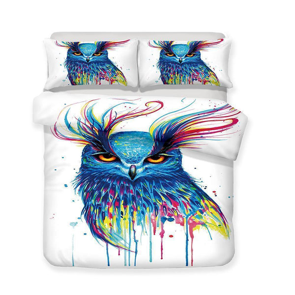 3 piece bedding set 3d owl pattern print all sizes art print bed cover-Mr Koala