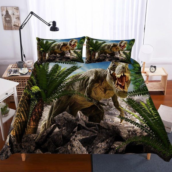 3 Piece Set Bedding 3D Digital Print Lost World Jurassic Park Big Dinosaur-Mr Koala