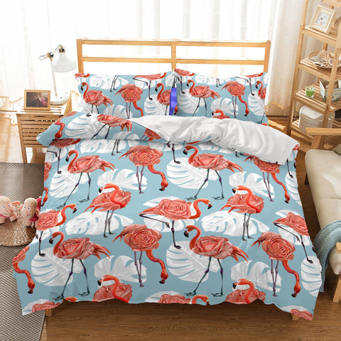 3D Animal Flamingo Bedding Bedroom Blanket Mats Bed Quilt Christmas Bedding-Mr Koala