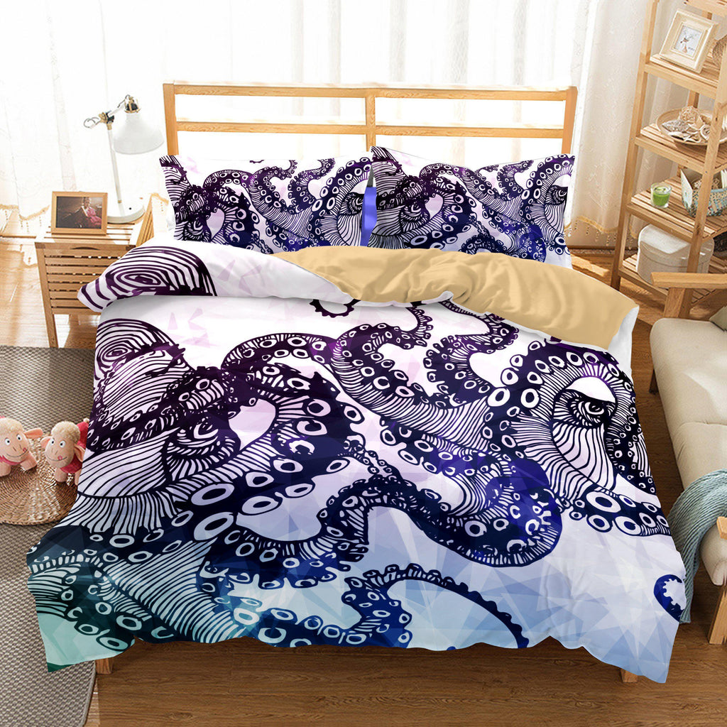 3D Animal Octopus Bedding Sets Duvet Cover Set Bedroom Christmas Bedding Set-Kitkae-Kitkae-Koalabedding (417726300197)