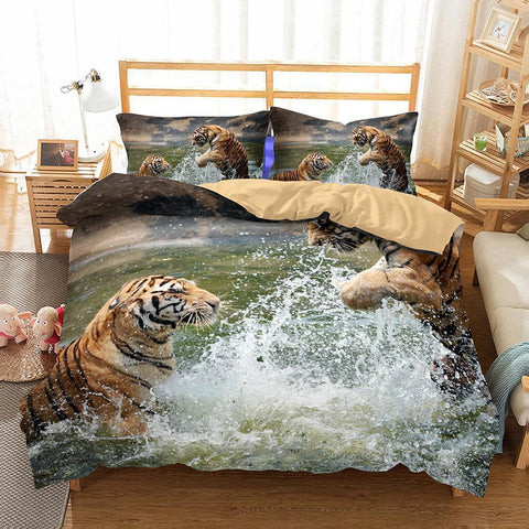 3D Animal Tiger Bedding Sets Duvet Cover Bedroom Pillows Bed Sheet-Mr Koala