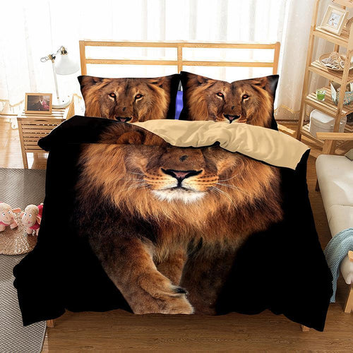 3D Art Design Lion Pattern Bedding Set Double Full Queen Extra Large Pillow Case Quilt Cover-Mr Koala (1415651983411)