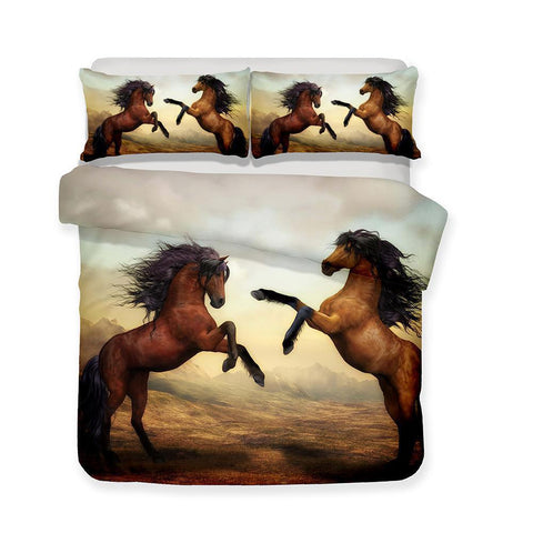 3d Art Horse Print 3 Piece Bedding Set All Size Print Bed Cover-Mr Koala