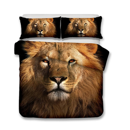 3D Art Lion Pattern Bedding Set Double Full Queen Extra Large Pillow Case Quilt Cover-Mr Koala (1415652016179)