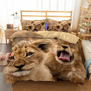 3D Art Lion Print Bedding Set Double Full Queen Extra Large Pillow Cover Quilt Cover-Mr Koala