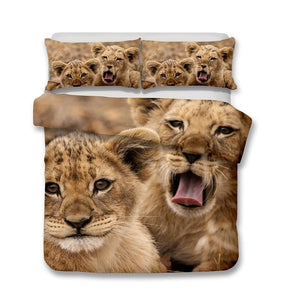3D Art Lion Print Bedding Set Double Full Queen Extra Large Pillow Cover Quilt Cover-Mr Koala (1415652114483)