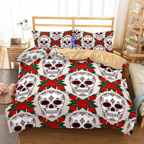 3D Art Pattern White Skull Printed Bedding Sets-Mr Koala