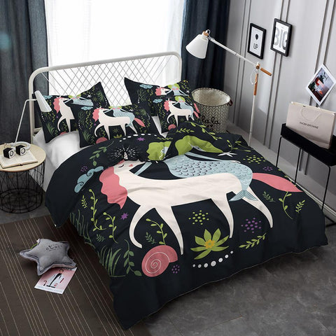 3D Art Unicorn Pattern Bedding Set Meditation 3 Piece Children's Duvet Cover Pillow Case Double Full Size-Mr Koala