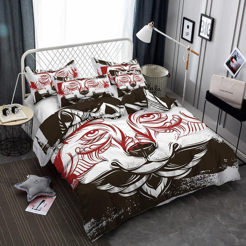 3d Art Wolf Pattern Printed Bed Set Wolf 3 Piece Set Queen Featured Bedding Set-Mr Koala