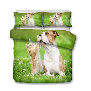 3D Design Animals Dogs Cats Pattern Queen King Size 3pcs Bedding Sets Dog Quilt Pillow Coverlets Sets-Mr Koala (671527370803)