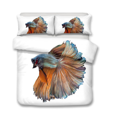 3D Design Fish Pattern Queen King Size 3pcs Bedding Sets Quilt Pillow Coverlets Sets Underwater World Fish-Mr Koala