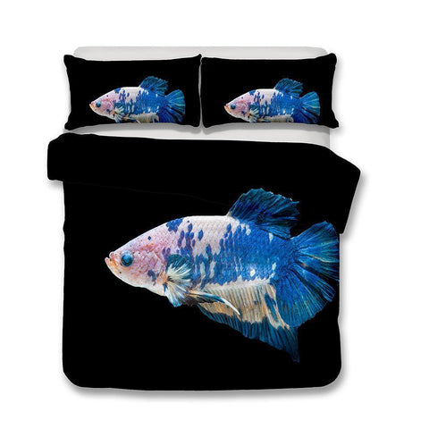3D Design Fish Pattern Queen King Size Bedding Sets Quilt Pillow Coverlets Sets Underwater World-Mr Koala