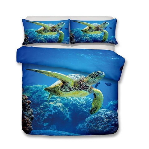 3D Design Sea Turtle Pattern Queen Bedding Set Quilt Pillow Coverlets Sets Underwater World for Bed King Size-Mr Koala