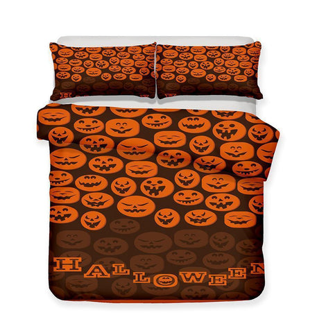 3D Halloween Pumpkin Light Ghost Pattern Print 3 Piece Bedding Multi Size Selection Full Size-Mr Koala