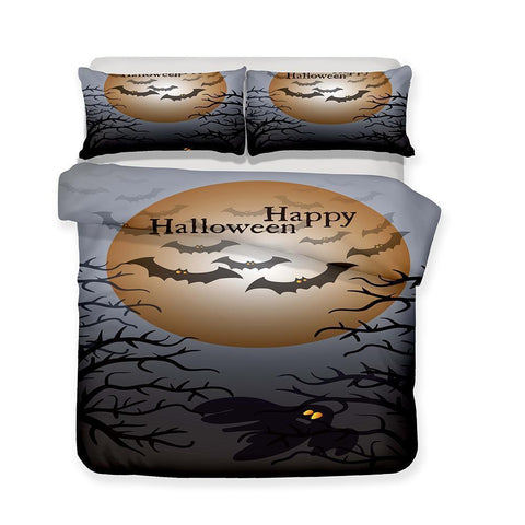 3D Halloween Pumpkin Light Ghost Pattern Print 3 Piece Bedding Set Multiple Sizes-Mr Koala