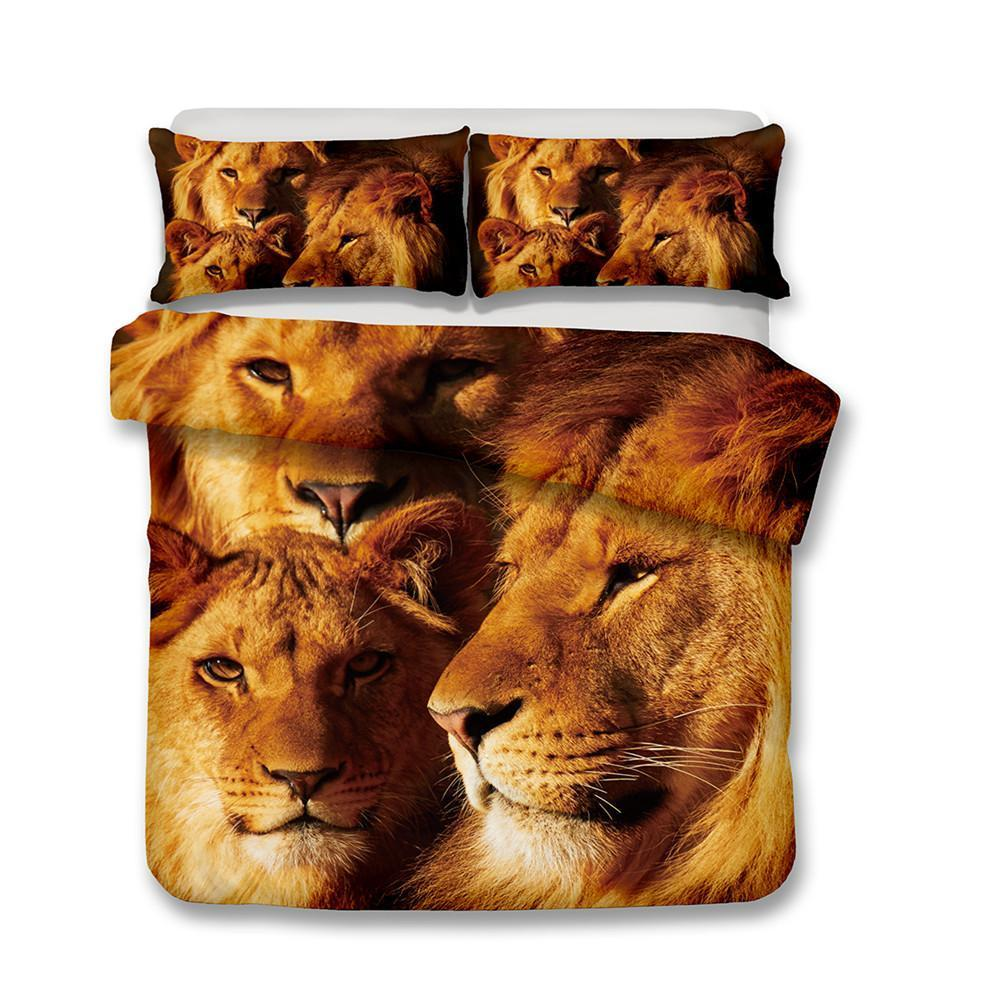 3D Lion Print Bedding Set Double Full Queen Extra Large Pillowcase Quilt Cover-Mr Koala