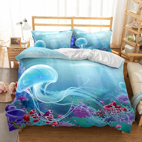 3D Natural Scenery Jellyfish Printed Bedding Sets Duvet Cover Set Comforter Cover-Mr Koala