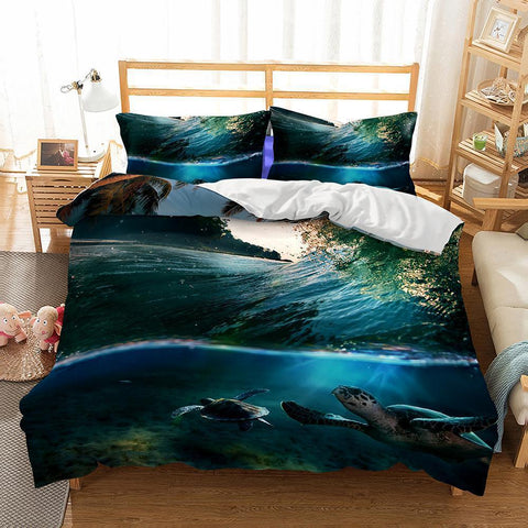 3D Natural Scenery Sea Turtle Printed 3 Bedding Sets Duvet Cover Set-Mr Koala