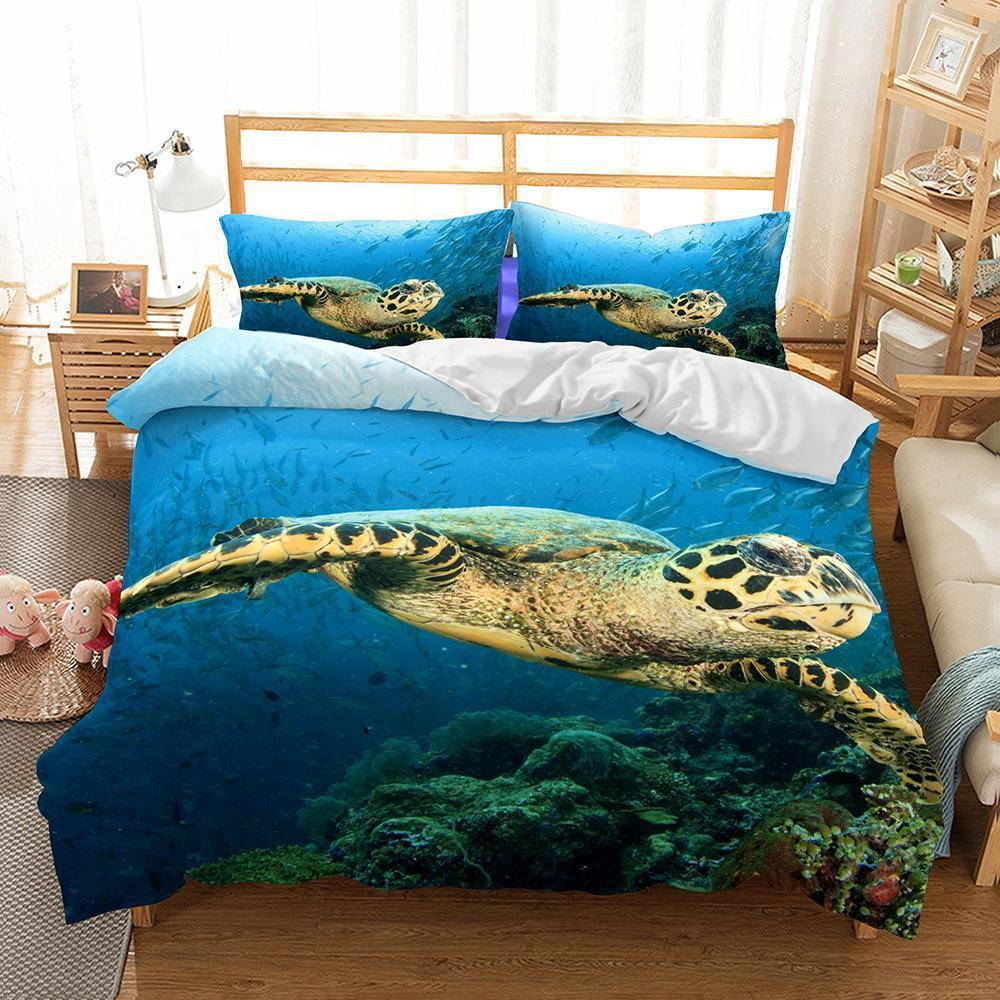3D Natural Scenery Sea Turtle Printed Bedding Sets Duvet Cover Set (429806780453)