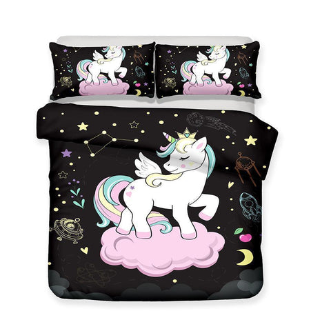 3D Unicorn Pattern Print Bedding Set Meditation 3 Piece Duvet Cover Pillow Case Double Full Size-Mr Koala