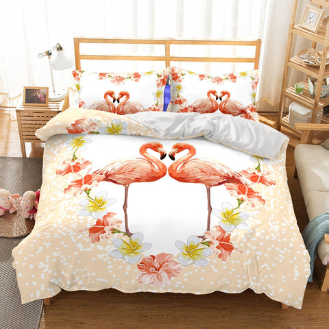 Animal Love Flamingo Printed Duvet Cover Set 3d Bedroom Christmas Bedding Sets-Mr Koala