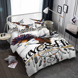 Animal Print White Eagle Hawk 3d Bedding Sets King Queen Size Design Bed Sets-Mr Koala