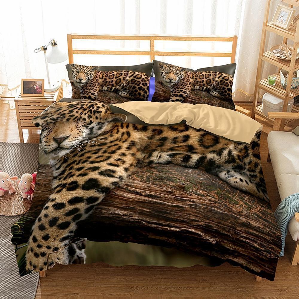 Animal Snow Leopard Bedding Twin Size Bedroom Pillows Bedding Queen 3D Bed Sheets (460250611749)