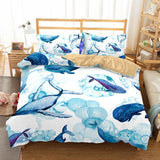 Animal Whale  Bedding Sets Duvet Cover Comforter Cover Pillowcase Bedroom Pillows Queen