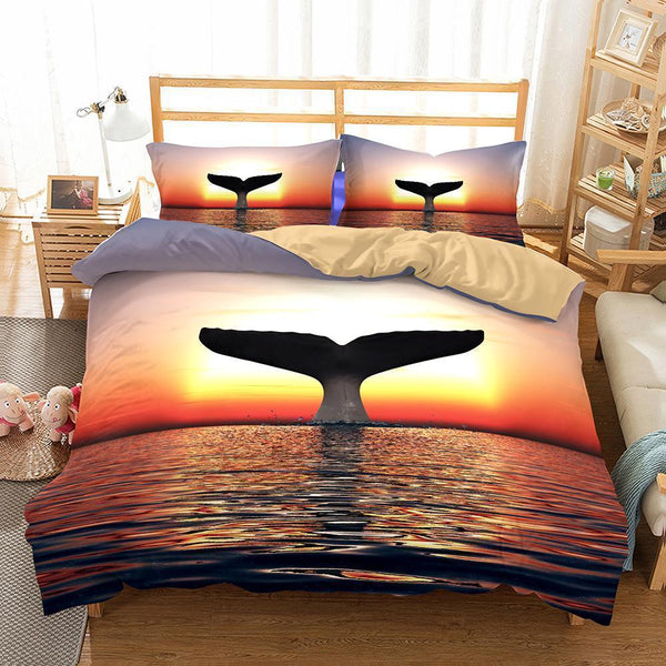 Animal Whale Bedding Sets Duvet Cover Set Comforter Pillowcase Bedroom Bed Sheet-Mr Koala