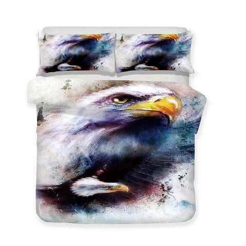 Animal World Print White Eagle 3d Bedding Set Extra Large Design Bed Cover-Mr Koala