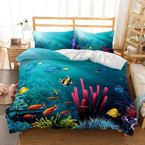 Bedding 3D Natural Scenery Underwater World Printed Bedding Cover Set-Mr Koala