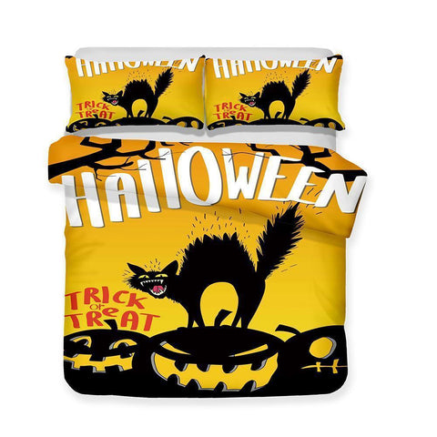 Halloween Bedding Set Pumpkin Light Theme Quilt Bed Set 3 Piece Set-Mr Koala