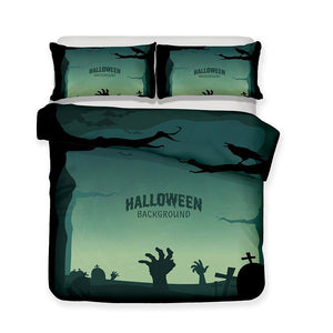 Halloween Bedding Set Theme Pumpkin Light Quilt Bed Set 3 Piece Set-Mr Koala (1422063730739)