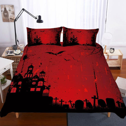 Halloween Bedding Theme Pumpkin Light 3 Piece Set Quilt Bed Cover boho-Mr Koala