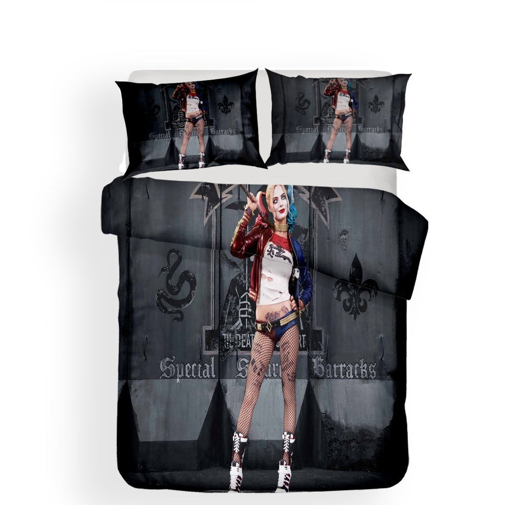 Harleen Quinzel Harley Quinn Suicide Squad Theme Pattern Printed Bedding 3Pcs Bed Set-Kitkae-Kitkae-Koalabedding (1660049883187)