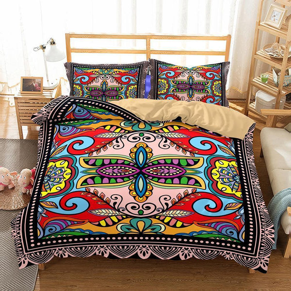 Home Supplies Bohemian Themed Print Sets 3 Sets of Bedding In Various Sizes Full Size-Mr Koala
