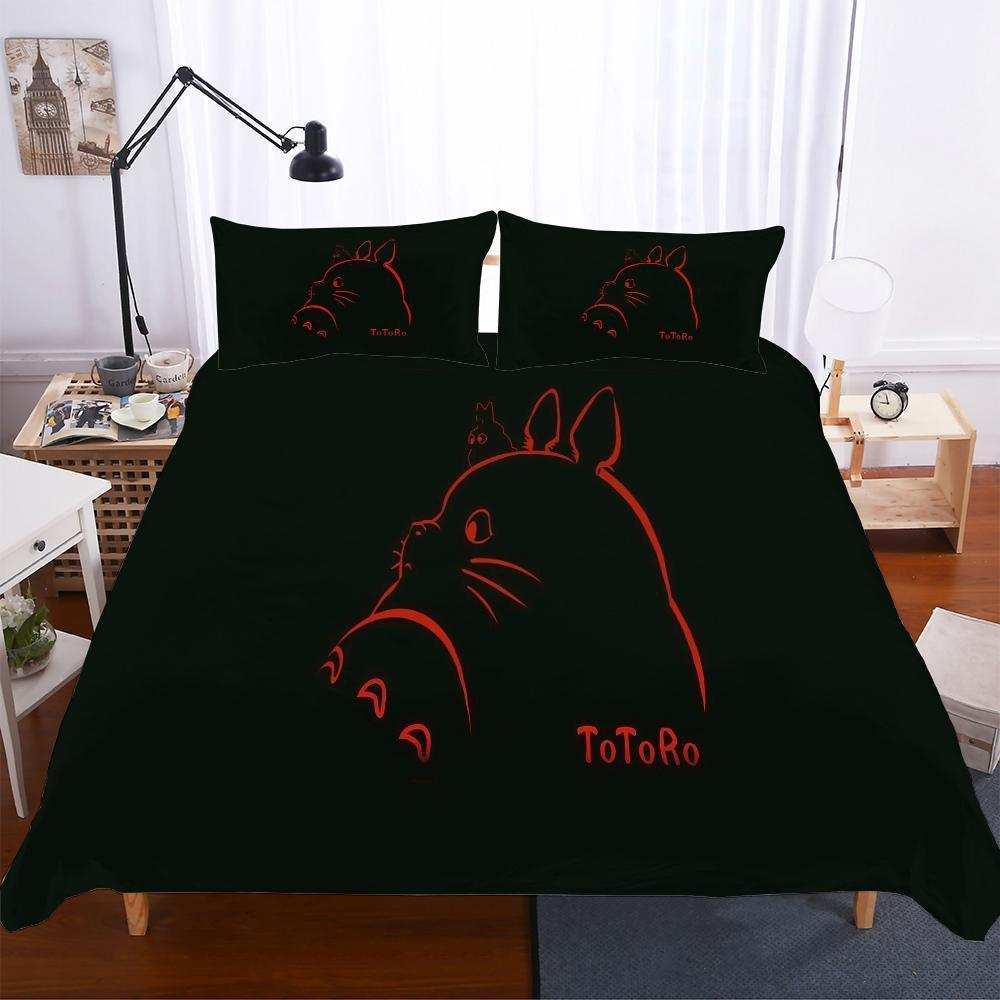 Household Products Totoro Theme 3Pcs Set Digital Printed Bedding Black-Kitkae-Kitkae-Koalabedding (1596313632819)