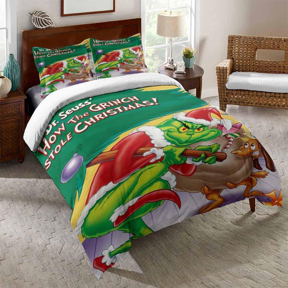 Lovely Cartoon The Grinch Print Bedding Set Green Red Duvet Cover Sets For Student Bedroom (4573181575304)